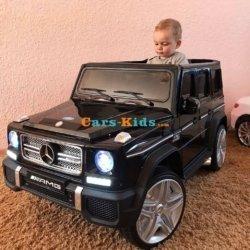 Электромобиль Mercedes-Benz G65 AMG черный (усиленный аккумулятор, кожа, резина, пульт, музыка, глянцевая покраска)