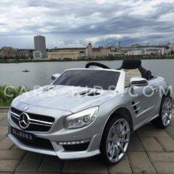 Электромобиль Mercedes-Benz SL63 AMG серый (резиновые колеса, кожа, пульт, музыка)