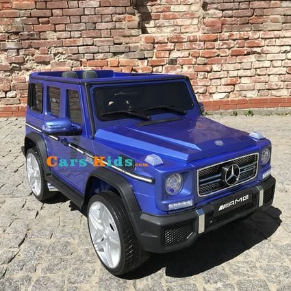 Электромобиль Mercedes-Benz G65 AMG синий (АКБ 12v 7ah, колеса резина, сиденье кожа, пульт, музыка)