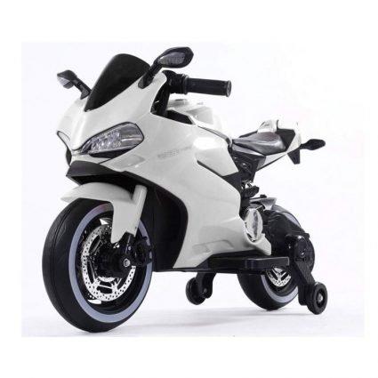 Детский электромотоцикл Ducati 12V- FT-1628 белый (колеса светящиеся, сиденье кожа, музыка, страховочные колеса)
