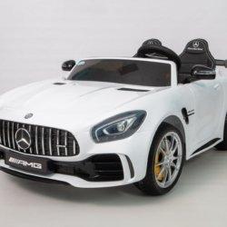 Электромобиль Mercedes-Benz GTR AMG 2х местный белый (колеса резина, кресло кожа, пульт, музыка)