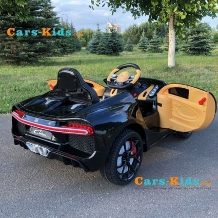 Электромобиль Bugatti Chiron HL318 черный (колеса резина, кресло кожа, пульт, музыка)
