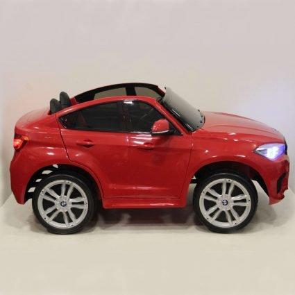 Детский электромобиль BMW X6M RED 12V - JJ2168 (2х местный, колеса резина, кресло кожа, пульт, музыка)