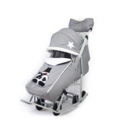 Санки-коляски Pikate Toy светло серый (мембранная ткань, овчина, 3 положения спинки, краска рамы белый)