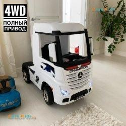 Электромобиль Mercedes-Benz Actros (HL358) 4WD белый (колеса резина, кресло кожа, пульт, музыка)