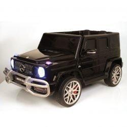Электромобиль Mercedes-Benz G63 AMG S307 черный (2х местный, колеса резина, кресло кожа, пульт, музыка)