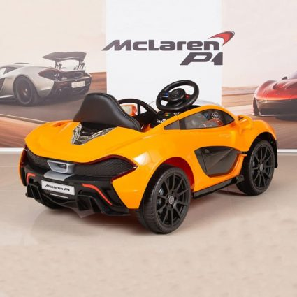 Электромобиль Mclaren 672R оранжевый (колеса резина, кресло кожа, пульт, музыка)
