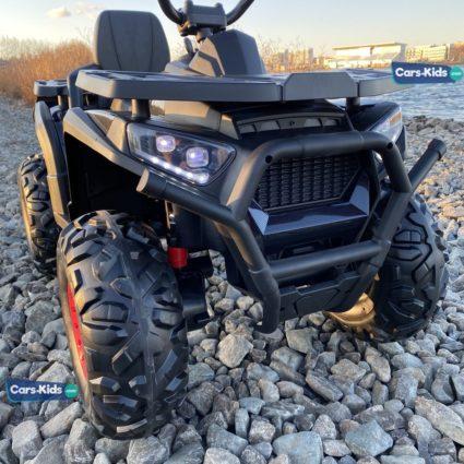 Электроквадроцикл XMX607 4WD черный карбон (полный привод, колеса резина, кресло кожа, музыка)