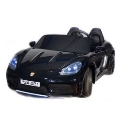Электромобиль Porsсhe Cayman 180W черный (2х местный, колеса резина, кресло кожа, музыка, до 15 км/ч)